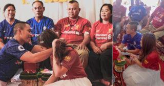 ទោះបងជាហ្វេន Chelsea ហើយអូនជាហ្វេន Liverpool តែយើងទាំងពីរចាប់ដៃគ្នាចូលរោងការបានតើ